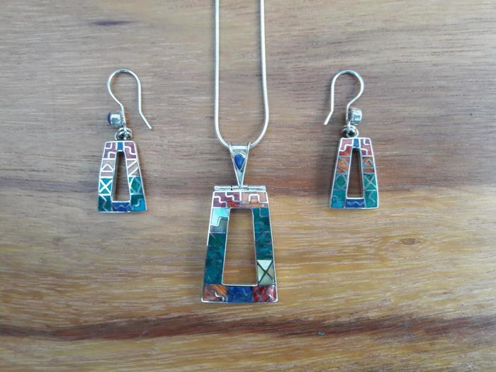 "Silver Pendant and Earrings ""The Three Windows"""