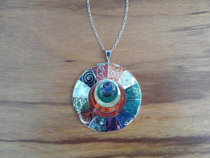 """Silver Pendant """"Inka Calendar"""""""