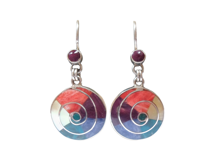 "Silver Earrings ""Mother Earth - 5 Colors"""