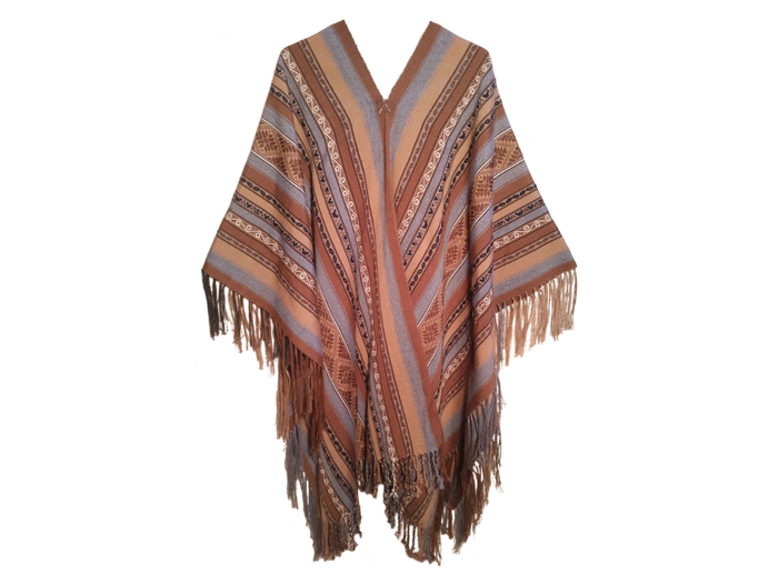"Alpaca poncho ""Mountains, Rivers and Stars"""