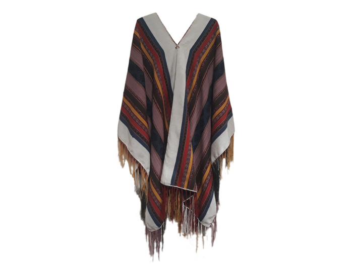 "Alpaca poncho ""Moutains, Rivers and Stars"""