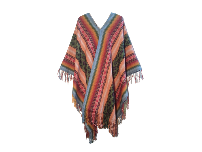 "Peruvian alpaca poncho ""Rainbows and Stars"""